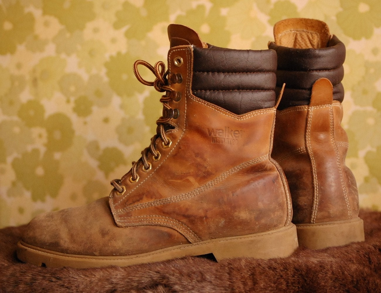 Rugged High Top Lace Up Work Boots Mens US 8 by Ramenzombie
