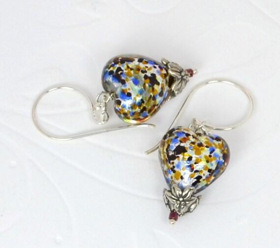 Italian Glass Hearts Multi, Sterling Silver Earrings