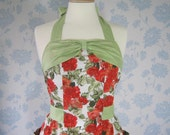 Black Friday Special, Retro apron with bow, vintage style orange floral pattern. 1950s inspired, fully lined.