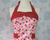 Retro apron with bow, Strawberries and Cherries. 1950s vintage inspired, fully lined.