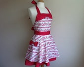 Retro apron with bow, circle skirt, Raspberry ripple apron, pink flowers on a white fabric. 1950s inspired, fully lined.