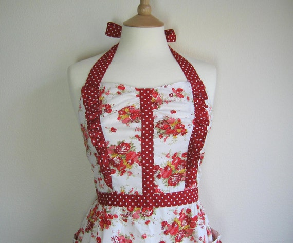 Retro apron with side ruffles, Red Orange Floral on a white fabric. 1950s vintage inspired, fully lined