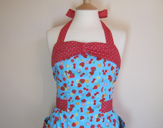 Retro apron with bow, Strawberry and Cherry. 1950s inspired, fully lined.