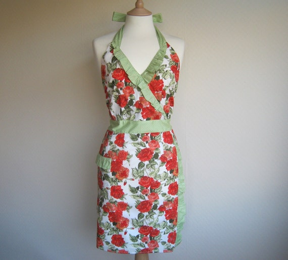 Retro apron, vintage orange floral pattern. 1950s vintage inspired, fully lined.