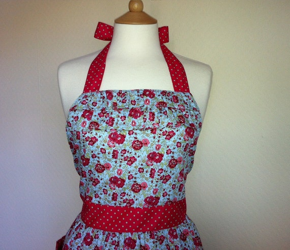 Retro apron,  vintage inspired pink floral pattern on blue apron, fully lined.