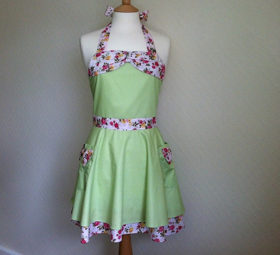Retro apron with bow, half circle skirt, white polka dot on green. 1950s inspired, fully lined.