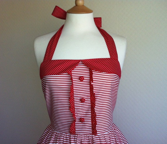 Spring Sale. Retro Dress, MEDIUM SIZE, red and white striped summer dress, fully lined.