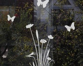 Etched Glass Flower Butterfly Decal, Flower Window Decal, Flower and Butterfly Glass Decor, Frosted Floral Glass Decor, Window Decor Sticker