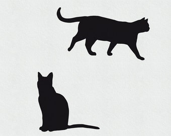 Cat Wall Decal - 2 Small Cats, Running Cat Decal, Sitting Cat Decal, Cat Wall Sticker, Cat Wall Art, Cat Wall Decor, Black Cat Decal