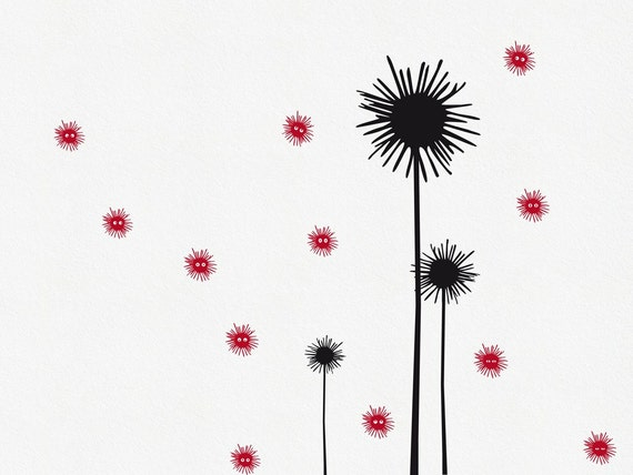 Flower Wall Decal Anja and 12 Little Friends, Whimsical Flower Wall Decal, Fun Floral Wall Decal, Nursery Wall Decal, Flower Vinyl Decal