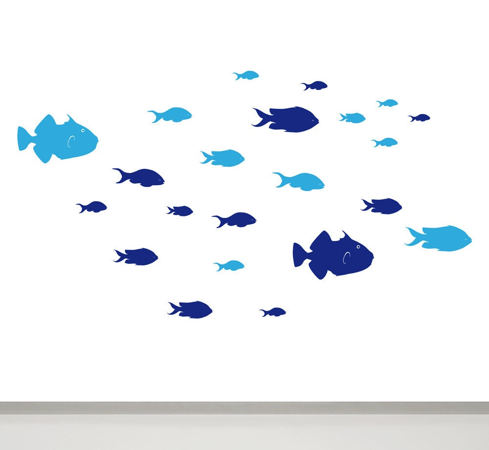 Fish wall decal fish bathroom wall decor children wall decal zoom amipublicfo Images