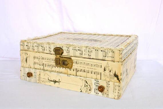 Vintage Music Sheet Collage Jewelry Box with Vintage Lace With Free Piece of Jewelry