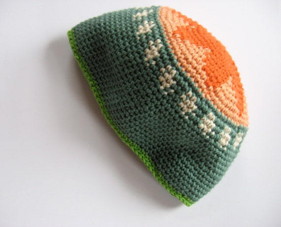 orange tree cotton/wool baby cap sun hat