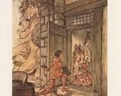 Jack And The Beanstalk, Taking Keys Of The Castle Jack Unlocked All The Doors, English Fairy Tales, Arthur Rackham, Vintage Children Print
