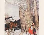 Jack Frost Chilling A Girl In A Red Dress, Art Though Warm Maiden, Winter, Arthur Rackham, Printed In America, Vintage Children Print