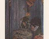 The Nightingale, Death Himself Standing Over Sleeping Emperor, Hans Andersen, Edmund Dulac, USA, Antique Children Print