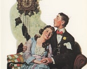 Norman Rockwell, Courting Couple At Midnight, Post Magazine Cover, Usa, America's Painter, Family Of 50's 60's 70's, Vintage Print