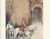 Men On White Horses Blowing Rams Horn Entering A Castle, Alan Lee, Printed In America, Antique Children Print, Once Upon A Time