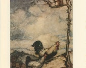 Grimms Fairy Tale, Chicken Rooster With Squirrel And Princess Combs Hair Geese, Arthur Rackham, Printed In America, Antique Children Print