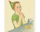 Peter Pan, Tinkerbell Drinks Poison To Save Peter, Peter Prays To Save Her, Antique Children Print, Illustrated By Marjorie Torrey, USA