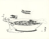 Vintage Art Print, Landing In The Soup, Airplanes Fly Over Alphabet Soup, Fabled Arts, Illustrated By Norman Kirk II, USA, 1975