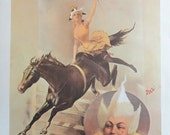 Vintage Circus Poster, Cirque Molier, Woman White Hair Whip Riding Black Horse, Lions Tamer, Print,  Jack Rennert, Printed In America