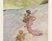 Winter, Angels Walking Through Snow With Gifts, Charles Robinson, Antique Print, USA, 1976