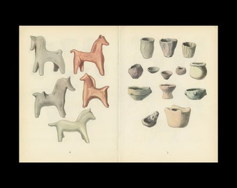 Toy Horse And Pottery Antique Toy Print Illustrated By Emanuel Hercik