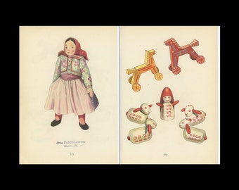 Toy Women, Shepard, And Horse Antique Toy Print Illustrated By Emanuel Hercik