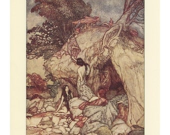 Goblin Thieves Stealing Three Women's Treasure, And A Group Of Goblin Scenes, Arthur Rackham, Printed In America, Antique Children Print