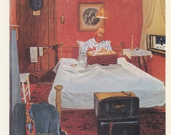 Norman Rockwell, Solitaire, Man Playing By Himself In His Bed, Post Magazine Cover, Made In Usa, America's Painter, Represents The Family Of 50's 60's 70's