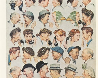 Norman Rockwell, The Gossips, Guess Who, Post Magazine Cover, Made In Usa, America's Painter, Family Of 50's 60's 70's