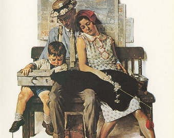 Norman Rockwell, Home From Vacation And Very Tired, Post Magazine Cover, Made In Usa, America's Painter, Represents The Family Of 50's 60's 70's, Vintage Print