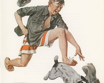 Norman Rockwell, Boys Best Friend, Dog Stealing His Pants, Post Magazine Cover, Made In Usa, America's Painter, Represents The Family Of 50's 60's 70's, Vintage Print