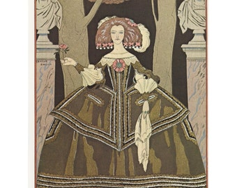 French Fashion Plates, Infanta's Rose, Costume Worth, Victorian Bell Dress, Green White, Wonderful Costumes, Printed America, Early 1900 's