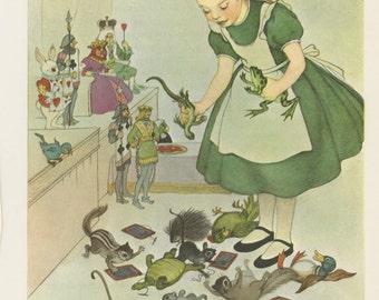 Alice Big, Queen Hearts Judging Alice Council, Alice's Adventures In Wonderland, Lewis Carroll, Marjorie Torrey, USA, Antique Children Print