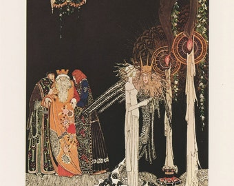 Princess Meets Prince Lindworm With Wizard And Attendants Looking On By Tall Candles, Kay Nielsen, Antique Children Print, USA, 1975