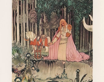 Prince Lays Down His Crown Kneeling Forest Looking Princess In Pool, East Sun West Moon, Kay Nielsen, Antique Children Print, USA, 1975