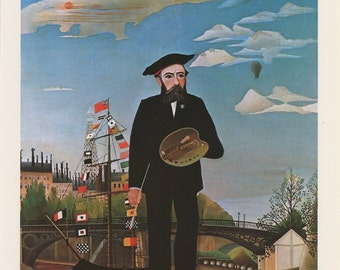 French Painter In Beret, Self Portrait In A Landscape, Henri Rousseau, Antique Print, USA, 1975