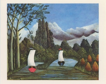 Red And Blue Sailboats Racing In River In Forest, Bords De LOise, Henri Rousseau, Antique Print, Printed In USA, 1975