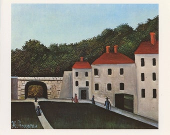 Landscape With Arch And Three Houses, Henri Rousseau, Antique Print, Printed In USA, 1975