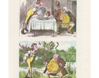 Tweedle Dee And Tweedle Dum Eat Fish , Alice In Wonderland, Lewis Carroll, John Tenniel, USA, 1978, Antique Children Print