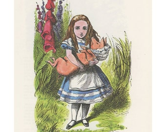 Alice Holds Baby Pig In Bonnet, Alice In Wonderland, Lewis Carroll, John Tenniel, Printed In America, 1978, Antique Children Print
