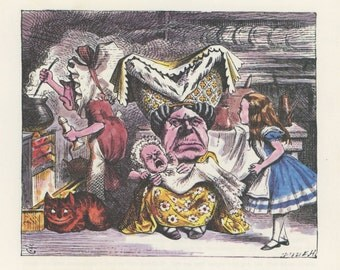Alice The Duchess Cook Screaming Baby And Cheshire Cat, Alice In Wonderland, Lewis Carroll, John Tenniel, USA, 1978, Antique Children Print
