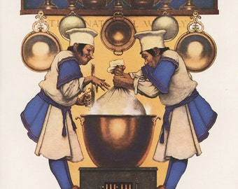 Colliers Chefs Cooking In Copper Pot, The Plum Pudding Makers By Maxfield Parrish, Christmas, Antique Print, Printed In USA, 1975