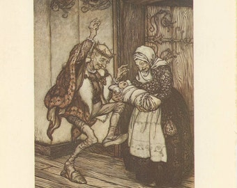 Grimms Fairy Tale, Old King And Queen With Baby, Arthur Rackham, Printed In America, Antique Children Print