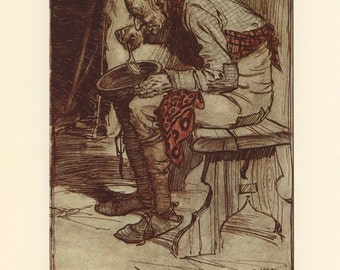 Grimms Fairy Tale, Old Man Eats Alone And Man Running From Knife, Arthur Rackham, Printed In America, Antique Children Print
