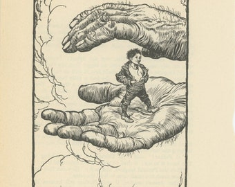 Grimms Fairy Tale, Tom Thumb In Giant Human Hands, Arthur Rackham, Printed In America, Antique Children Print
