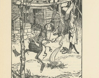Grimms Fairy Tale, Rumpelstiltskin Dancing And Singing Around Fire, Arthur Rackham, Printed In America, Antique Children Print