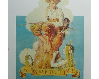 Summertime And Going Out, Mermaid Boy Fishing Sunshine, Mother Dress Up Daughter Watches, Norman Rockwell Poster, Post Magazine Cover